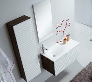 Details zu Badmöbel - Set 80 cm Gäste WC Waschtisch mit 3D FRONT  Badezimmermöbel VERONA
