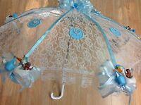 36 White Lace Black Baby Babies Shower Umbrella Blue Ducks & Pacifiers