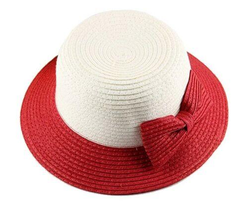 Girls Summer Hats Native Breathable Straw Colored Brim Big Bow Design Bucket Cap