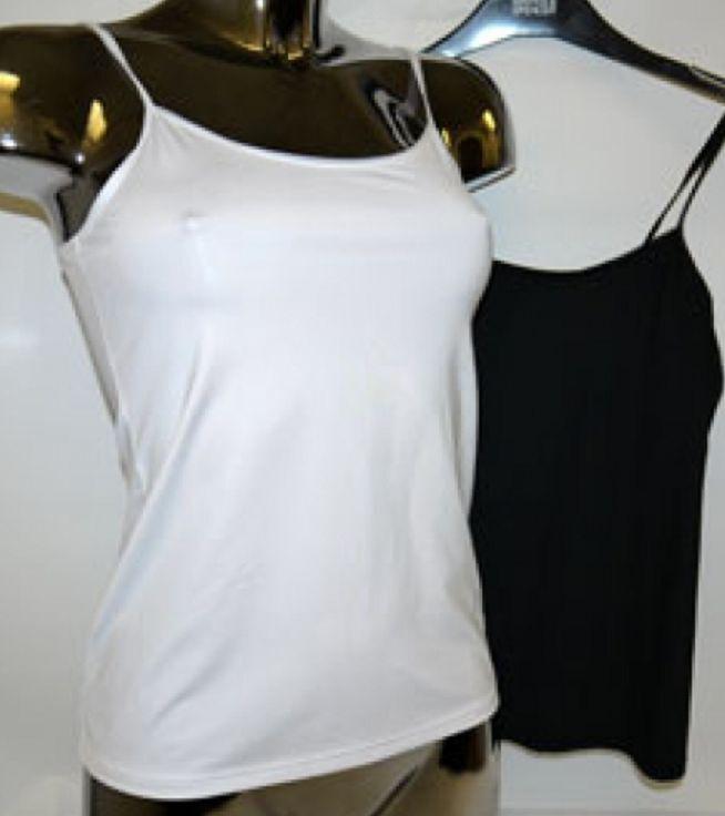 Ex M&s Scoop Neck Slinky Stretch Strappy Camisole / Vest - White Uk 8