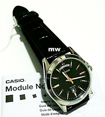 CASIO MEN'S ANALOG WATCH BLACK LEATHER Day Date Classic MTP1370L MTP-1370L-1 New