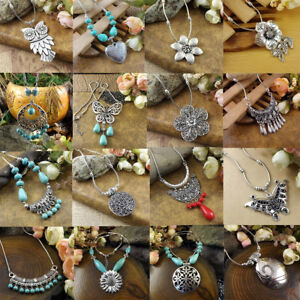 20-Style-Vintage-Femmes-Tibetain-Argent-Turquoise-Perles-Chaine-Collier-Pendentif