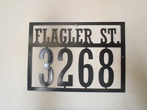 house number and street name address sign metal art ebay. Black Bedroom Furniture Sets. Home Design Ideas