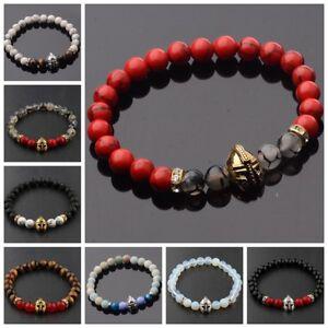 Charm-Men-Black-Lava-Stone-Gold-Silver-Spartan-Helmet-Beaded-Charm-Bracelets