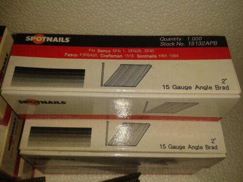 "10 BOXES SPOTNAILS 2/"" /& 2 1//2/"" 15 gauge angle brad 15132APB 15140APB SENCO 10000"