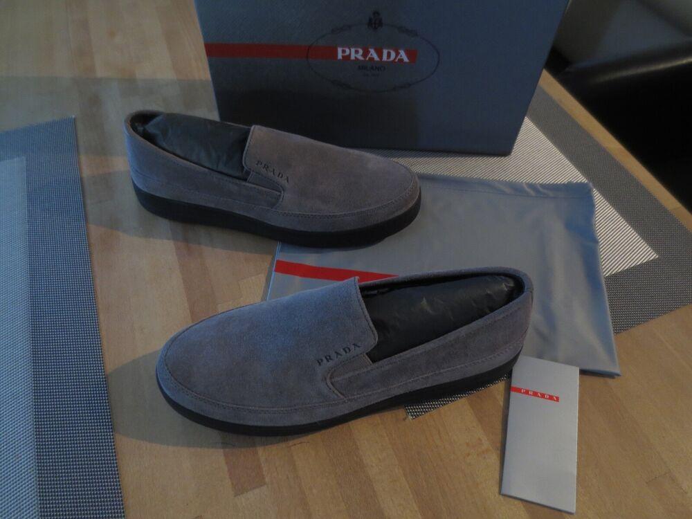 100% Vrai Prada Chaussures Femmes Taille 38 Sneaker Gris Prada Chaussures Basses Cuir Officiel 2019