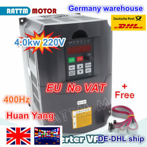 Details about 【EU Stock】4KW 220V VFD Inverter 5HP 3-phase Variable  Frequency Drive + 2m cables