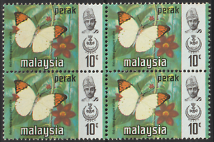 MALAYSIA PERAK BUTTERFLIES 10c B/4 MNH B. CAT RM 20 B