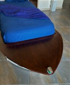 Vintage Pottery Barn Boat Shape Trundle Bed Blue Kids Ebay