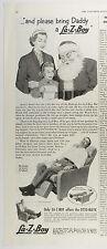Vintage 1953 LA-Z-BOY RECLINER Half-Page Large Magazine Print Ad: SANTA CLAUS