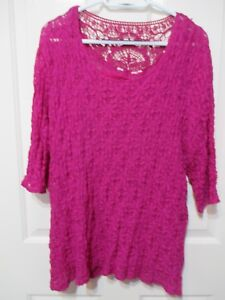 Ladies-pink-Long-Sleeved-Lacey-Top-Size-14