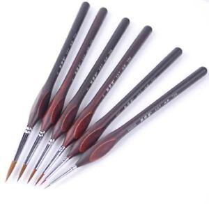6PC Miniature Paint Brush Set Professional Sable Hair Fine Detail Art Nail Craft