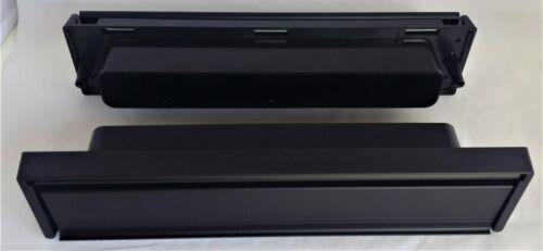 "Black Modern 12/"" Letter Box Letter Plate Set With Brushes Timber UPVC Doors D7"