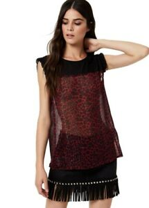 Liu Jo Jeans W69408T0110 Top T-Shirt in georgette rouches Donna Rosso F/W  -20%