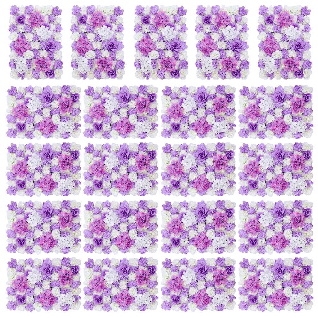 Magideal 20pcs Artificielle Fleur Wall Panel Mariage Décor Accessoires Violet