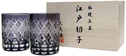 FutoshiTakeshiAkira workshop Edo Kiriko Edo violetYaraiSakanakoMon Oldglass pair