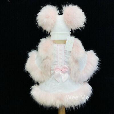 Schöne Wee Me Baby Mädchen Weiß mit Rosa Spanische Kleid Pelz Umhang Satz