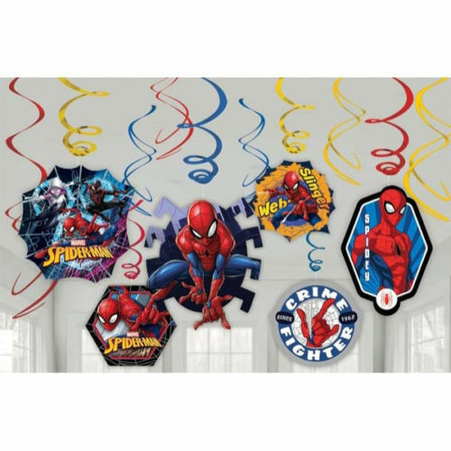 Marvel Spider-Man Swirl Decorations 12-Pieces ~Birthday Party Favor Supplies~