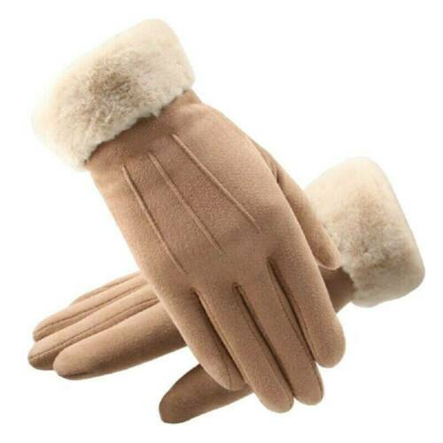 Touch Screen Gloves Women Winter Warm Suede-lined Full Finger Windproof Gloves F