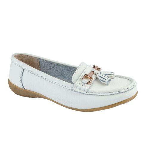 Femmes Large Fit Shoes Slip On Femme en mousse à mémoire de Travail en Cuir Mocassin Chaussures Taille