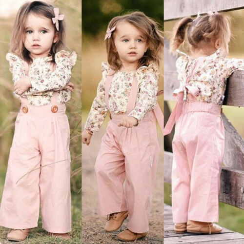 2PCS Toddler Baby Girls Long Sleeve Floral Tops+Overalls Pants Winter Outfits