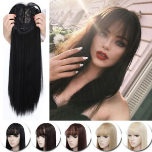 Lady Black Wispy Fringe Air Bangs Clip In Topper Hair Piece