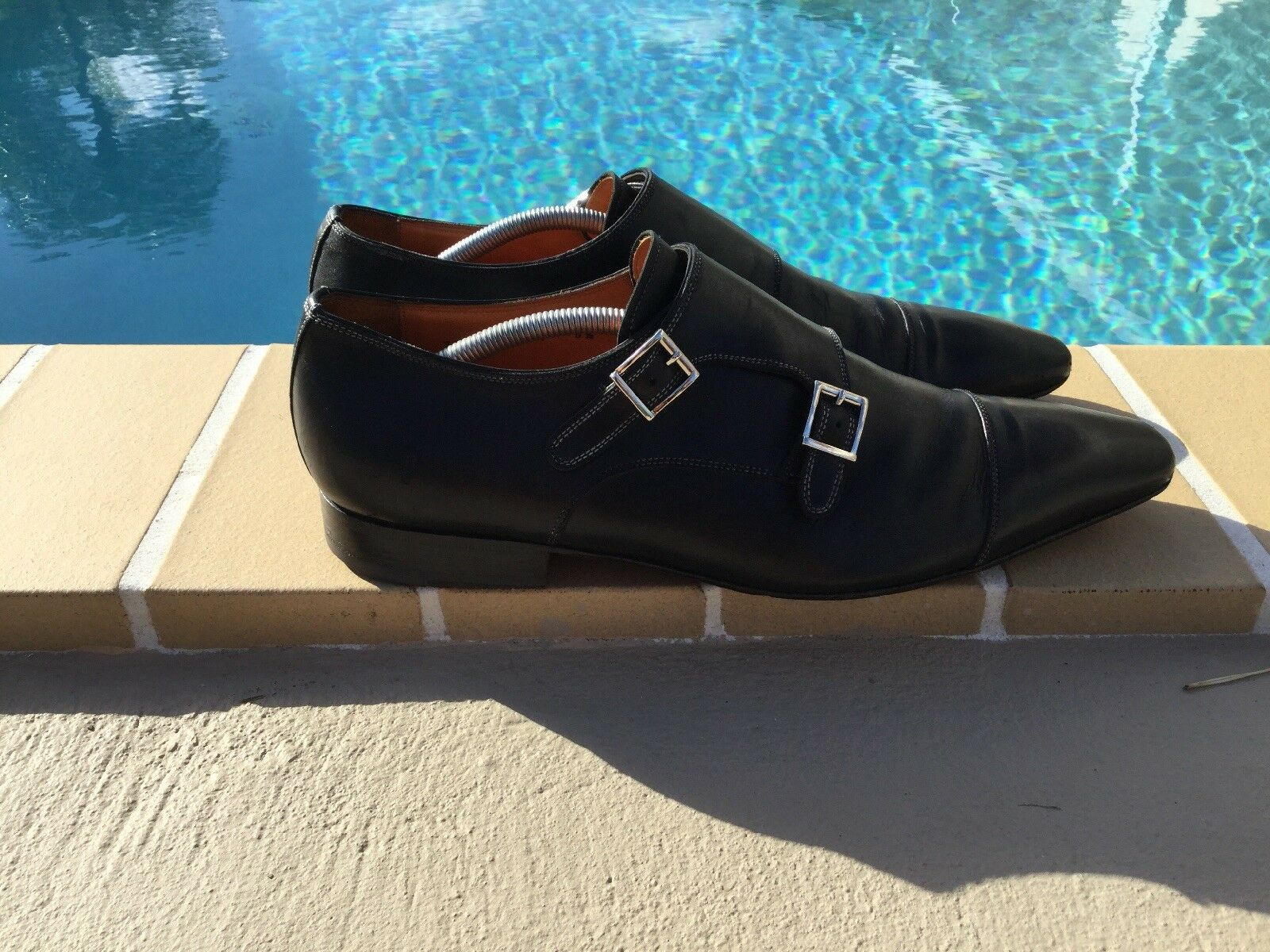 SANTONI BLACK LEATHER DOUBLE BUCKLE DETAIL LOAFERS Sz 9.5M MADE IN ITALY