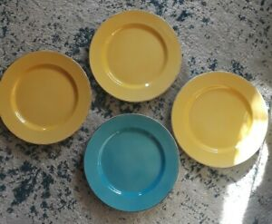 Set-of-4-Hand-Painted-Ceramiche-Toscane-Dinner-Plates-Blue-Yellow-Italy
