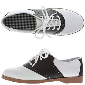 WOMENS 50 S STYLE BLACK   WHITE SADDLE SHOES ~ ALL SIZES (5 - 12 ... 3e93aa7409
