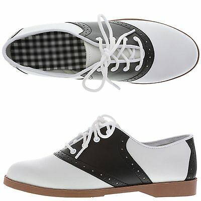 WOMENS 50'S STYLE BLACK & WHITE SADDLE SHOES ~ ALL SIZES (5 - 12) BRAND NEW NWOB