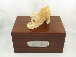 Beautiful Paulownia Wooden Personalized Urn Soft Coated Wheaton Terrier Figurine