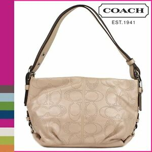 Coach-Perforated-Leather-Duffle-Handbag-19257-Purse-Color-Silver-Putty-12-034-H-NWT