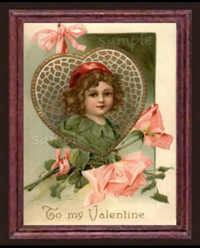 Valentine/'s  Day Flower Girl Miniature Dollhouse Art Valentine Picture