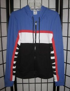 VICTORIA S SECRET PINK MEDIUM RED BLUE BLACK LOGO PERFECT FULL ZIP ... 3b83382b5