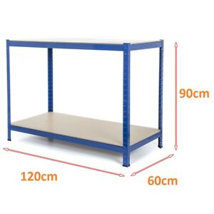 Heavy-Duty-Blue-Metal-Work-Bench-Garage-Workshop-Table-Top-Workbench-Station-NEW
