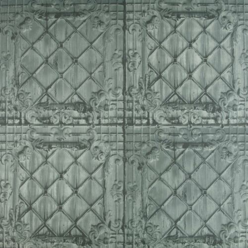 Ornamental Tin Tile Wallpaper Grey Green Off-white Paste The Wall Textured Vinyl
