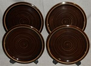 Set-4-Pottery-Barn-ARTISAN-BROWN-PATTERN-Salad-Plates