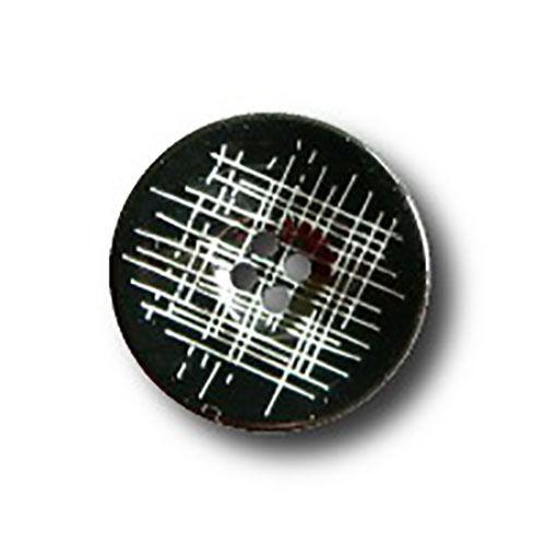 d346 10 schwarze Kunststoff-Knöpfe mit weißem Muster