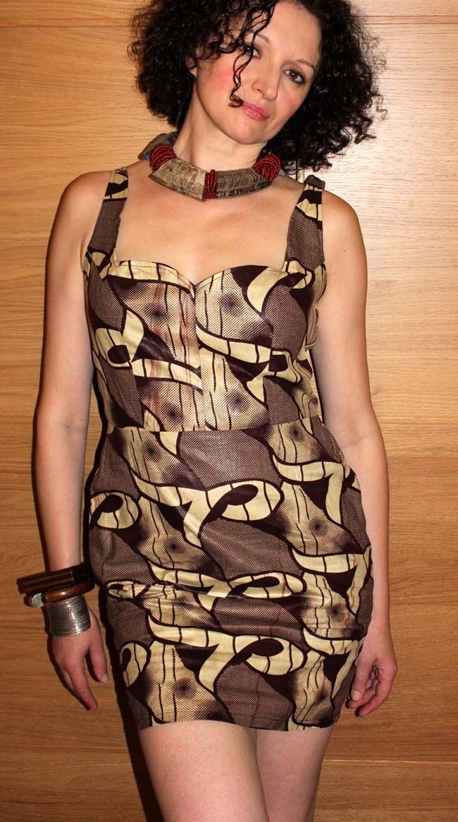 Short Brown African Print Dress
