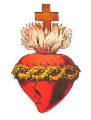 """Iron On Patch Applique Sacred Heart Cross Black 3/"""""""