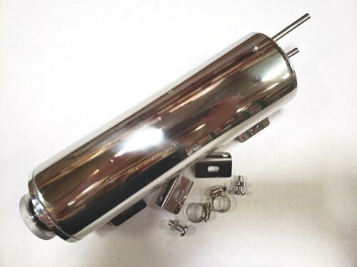 "Polished Stainless Steel 3/"" x 10/"" 24 Oz Radiator Overflow Tank Hot Rod Rat Rod"