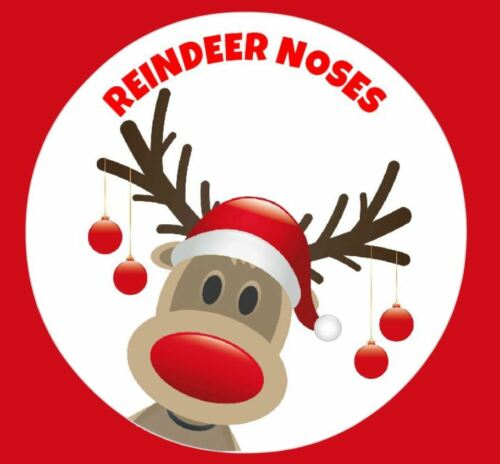 Reindeer Noses Red Christmas Party Stickers Labels for Sweet Cones Bags Seals
