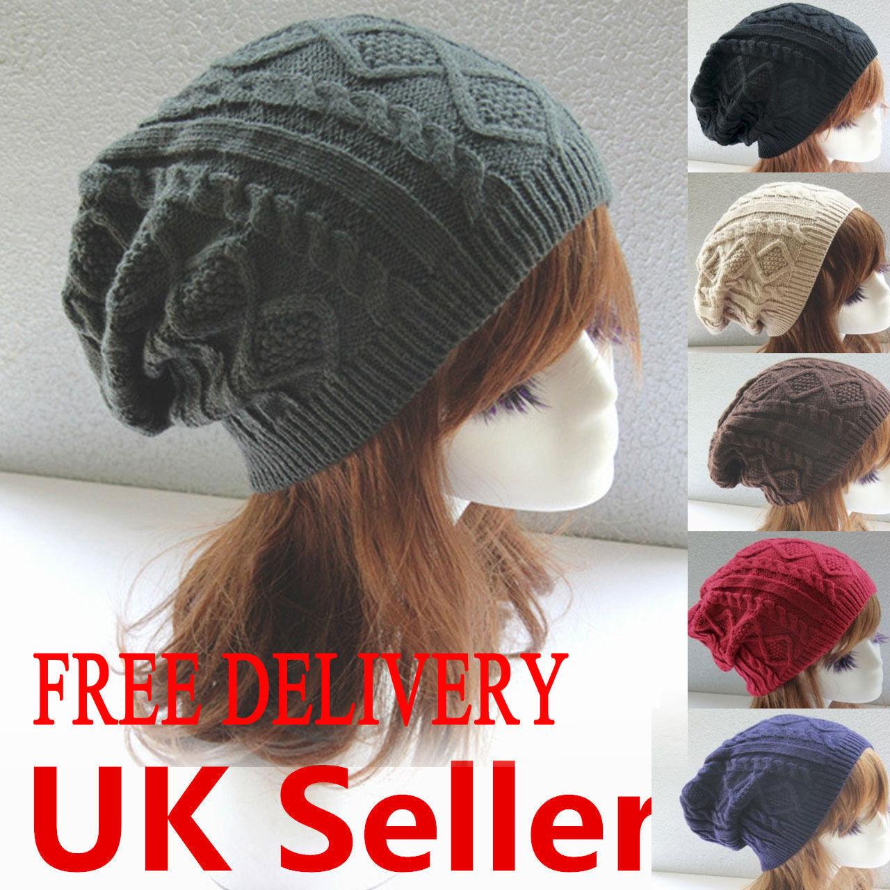 Mens Ladies Knitted Soft Woolly Winter Oversized Ski Beanie Hat Cap skateboard