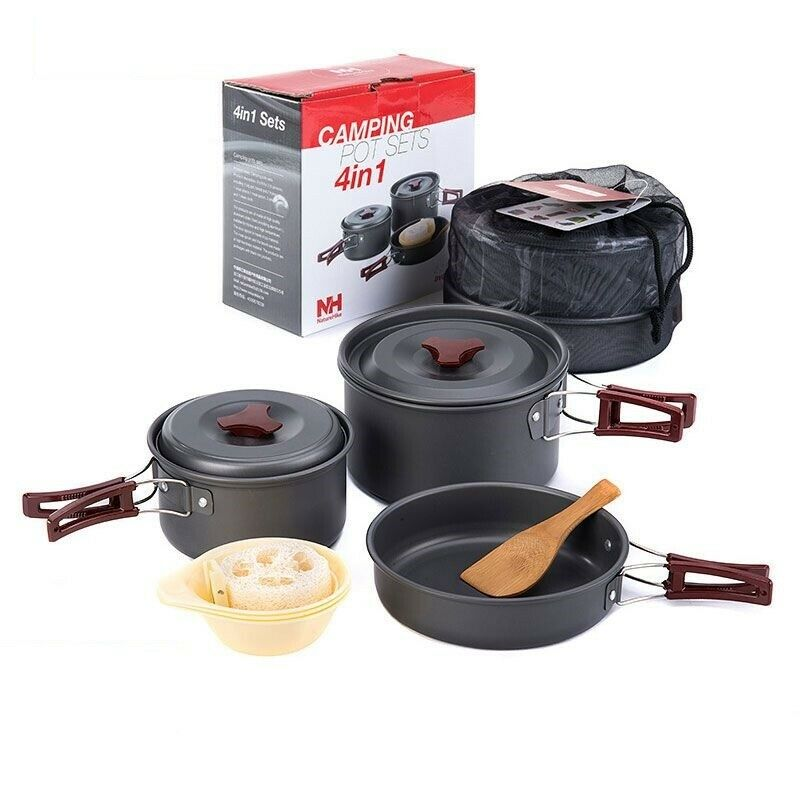Camping Hiking Cookware Set Outdoor Tableware 4 In 1 Picnic For 2-3 Person