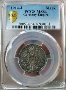 1914-J-Hamburg-mint-1-Mark-Silver-Germany-PCGS-MS64-Eagle-German-Empire