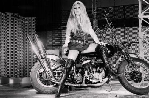 "Brigitte Bardot on Harley Davidson Poster  13/"" x 19/""   Photo Print"