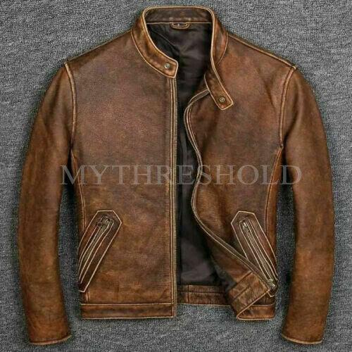 Details about  /Men's Motorcycle Biker Vintage Cafe Racer Distressed Brown Real Leather Jacket
