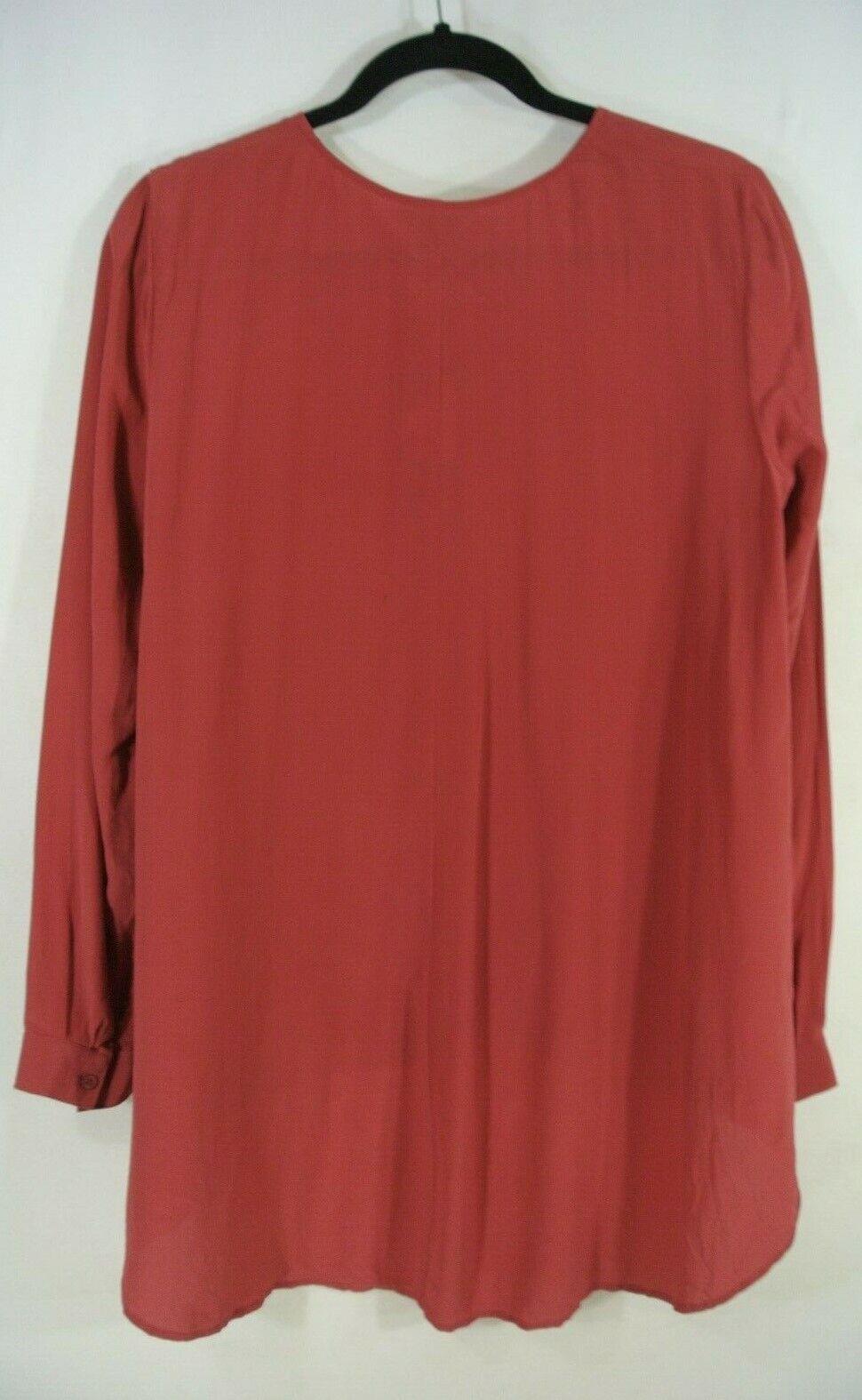 Nuevo con etiquetas etiquetas etiquetas Eileen Fisher Camisa De Cuello rojoondo De Seda Crepe En Rojo-XS  T36 6a7fad