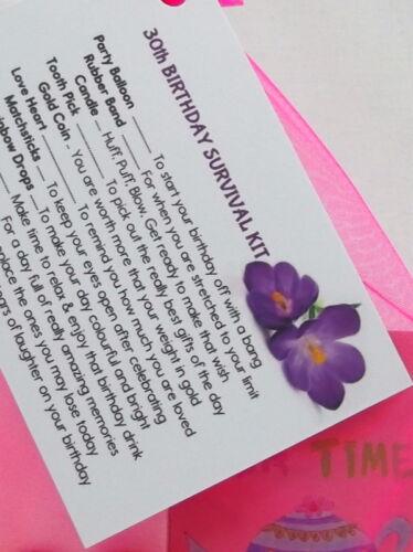 30ème 40ème 50ème 60ème Anniversaire Kit de survie carte cadeau fantaisie fun Keepsake