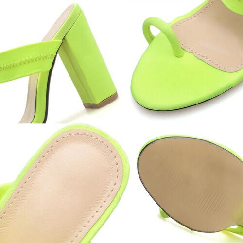 Women Ladies Toe Ring Comfort Shoes High Block Heels Mules Slip On Sandals Party